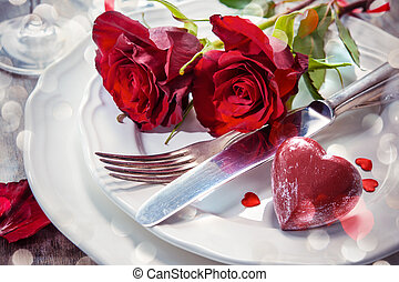 Place setting for Valentines day - Festive place setting for...