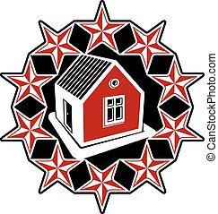 Solidarity idea branding icon, simple vector house surrounded with festive stars. Stylized design element, union theme.