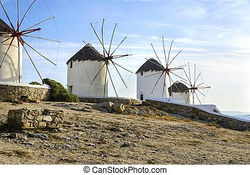 Mykonos, molinos de viento, Chora, grecia,