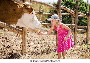 friendship of kid and animal