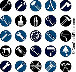 Stylized vector industrial icons, 3d work tools collection....
