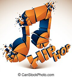 Orange 3d vector shattered musical note with specks and...