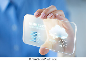 close up of woman with weather cast on smartphone -...