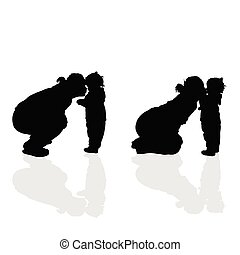 girl vector silhouette with mom