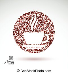 Flower-patterned cup of coffee with aromatic steam...