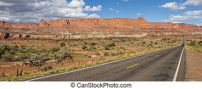 Panorama of scenic byway 12 near Capitol Reef in Utah, USA