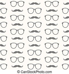 Vector seamless pattern of mustache and glasses