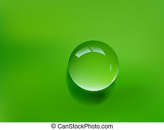 green water drop - photo realistic water drop on green...