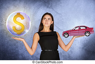 Woman holding dollar sign in bubble and car - Busineswoman...