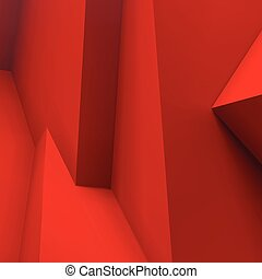 Abstract background with overlapping red cubes - Abstract...