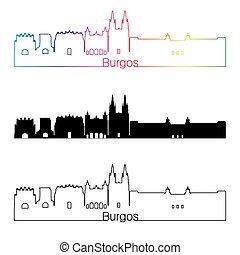 Burgos skyline linear style with rainbow in editable vector...