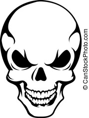 Angry skull symbol, vector on white background