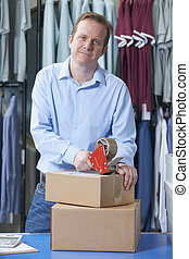 Man Running Online Clothes Store