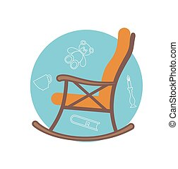 Flat illustration of rocking chair made in vector for your...
