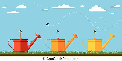 Illustration of watering cans. - Flat design illustration of...