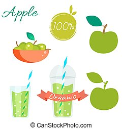 Green apple fruit and juice vector set. - Green apple fruit...