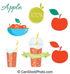 Red apple fruit and juice vector set. - Red apple fruit and...
