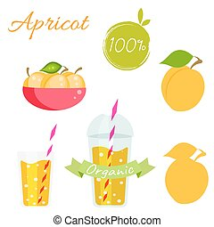 Apricot fruit and juice vector set. - Apricot fruit and...