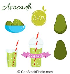 Avocado fruit and juice vector set. - Avocado fruit and...
