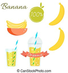 Banana fruit and juice vector set. - Banana fruit and juice...