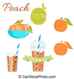Peach fruit and juice vector set. - Peach fruit and juice...
