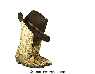 dirty worn cowboy boots with hat - dirty worn snake skin...