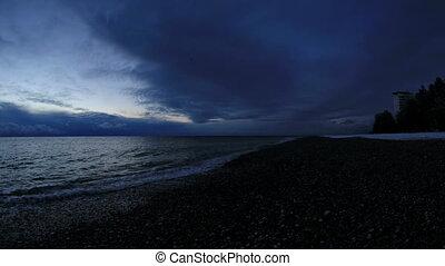 Sunrise over the Black Sea. Pitsunda, Abkhazia, Full HD