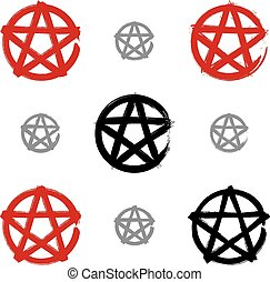 Set of hand-drawn pentagram icons scanned and vectorized,...