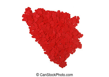 contour of the Bosnia and Herzegovina built of small red...