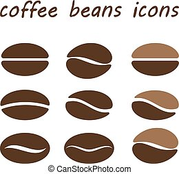 set coffee beans - coffee beans isolated on white...