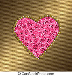Valentine card with pink roses