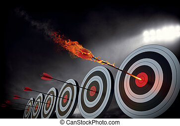 Flaming arrow hitting the center of target