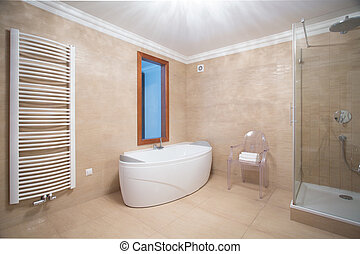 Beige minimalist bathroom interior - Horizontal view of...