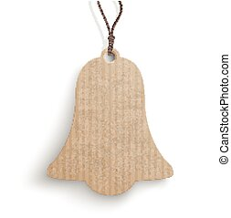 Bell Price Sticker - Cardboard bell hanging price sticker on...