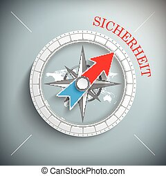 Compass Sicherheit - Blue german text Sicherheit, translate...