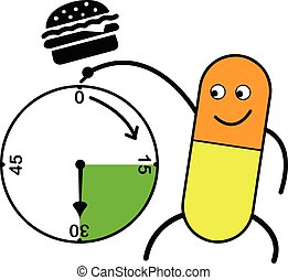 illustration vector capsule pointing clock and hamburger...