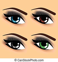 four eyes with different eye colors