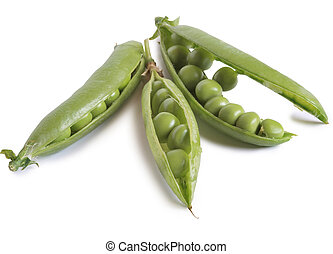 Green pea pods on a white background
