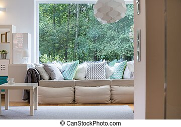 Cozy interior with large sofa