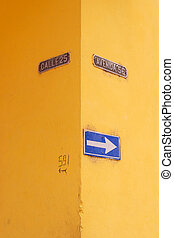 Matanzas, Cuba, one of the street signs. Bright yellow walls...