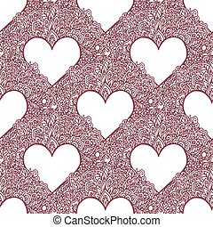 Seamless with floral hearts. Vector illustrations - Seamless...