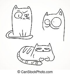 Funny cats - Hand drawn sketches of funny cats, black...
