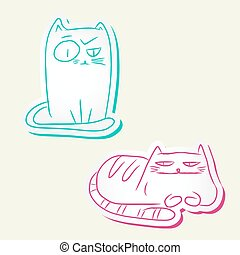 Funny cats - Hand drawn colorful sketches of funny cats.