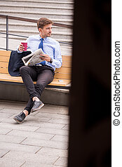 Casual businessman after business trip - Image of casual...