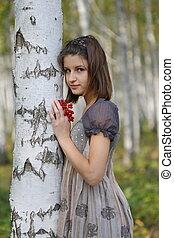 The girl near the birch