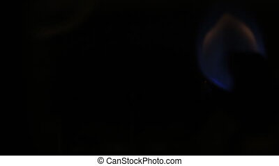 Blue flames of a gas burner