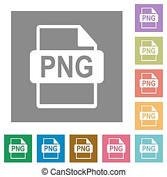 PNG file format square flat icons - PNG file format flat...