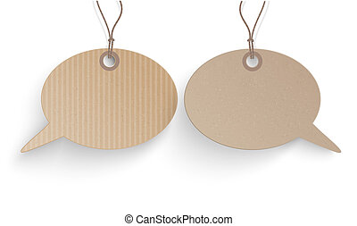 Carton Hanging Speech Bubbles Dialog - Cardboard hanging...