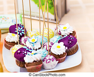 Sweet holiday buffet with cupcakes  and other desserts