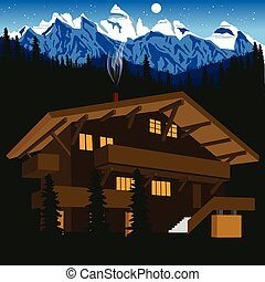 wooden chalet in mountain alps at night - illustration of...